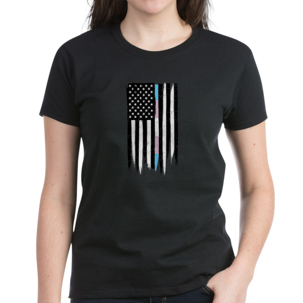 LGBT Transgender Pride Thin Line American Flag Women's Dark T-Shirt