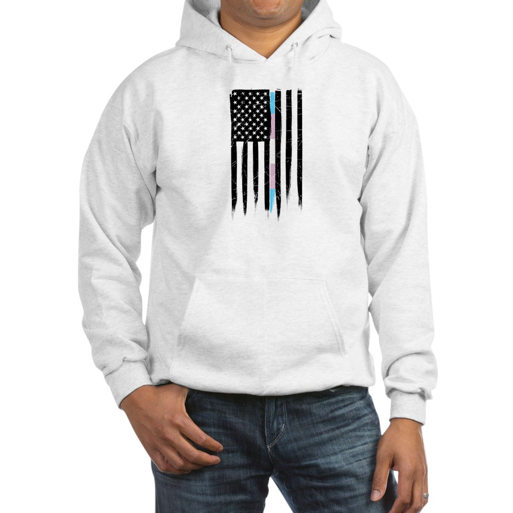 LGBT Transgender Pride Thin Line American Flag Hooded Sweatshirt