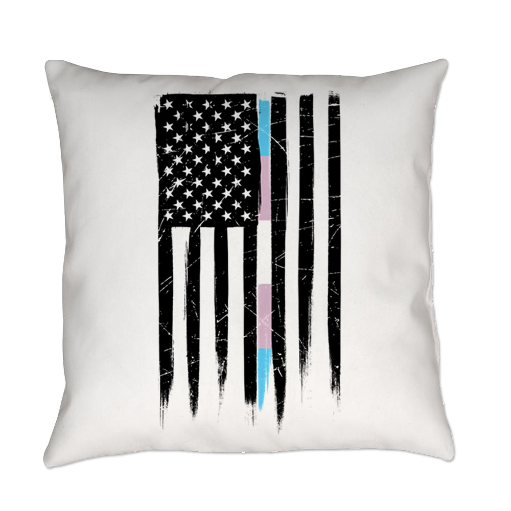 LGBT Transgender Pride Thin Line American Flag Everyday Pillow