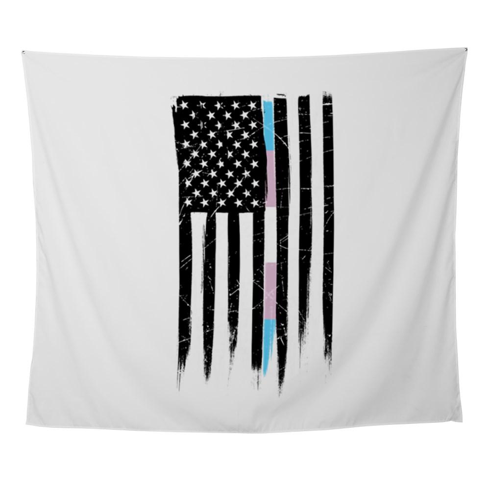 LGBT Transgender Pride Thin Line American Flag Wall Tapestry