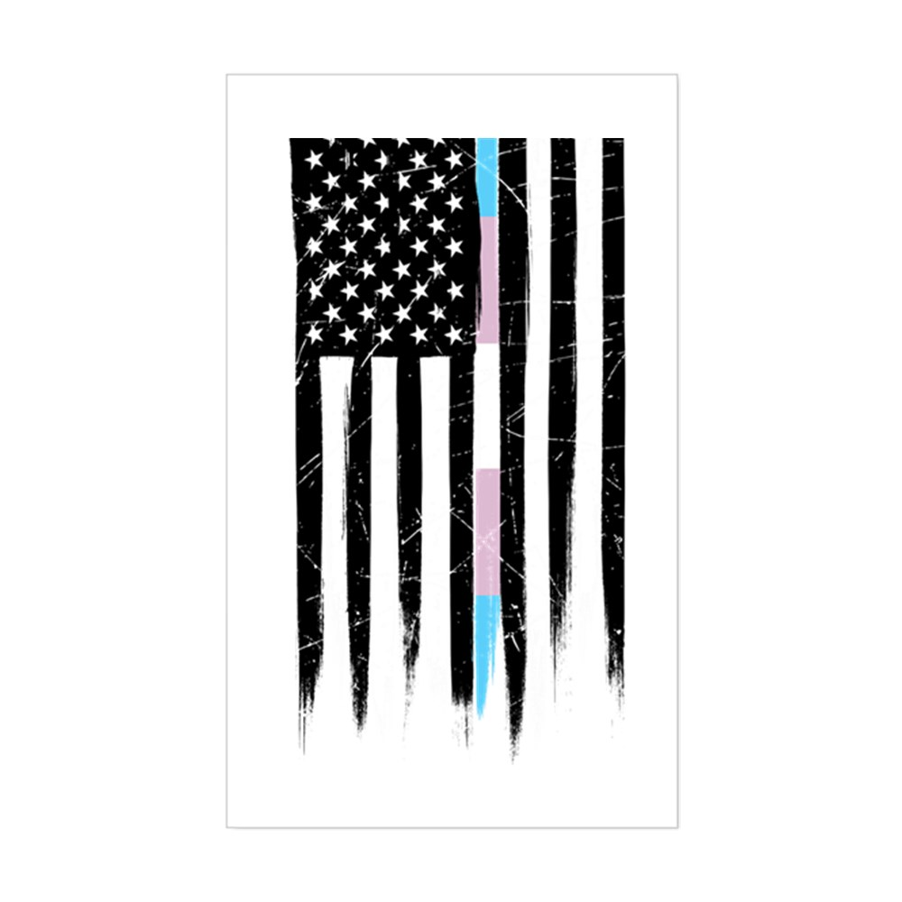 LGBT Transgender Pride Thin Line American Flag Rectangle Sticker