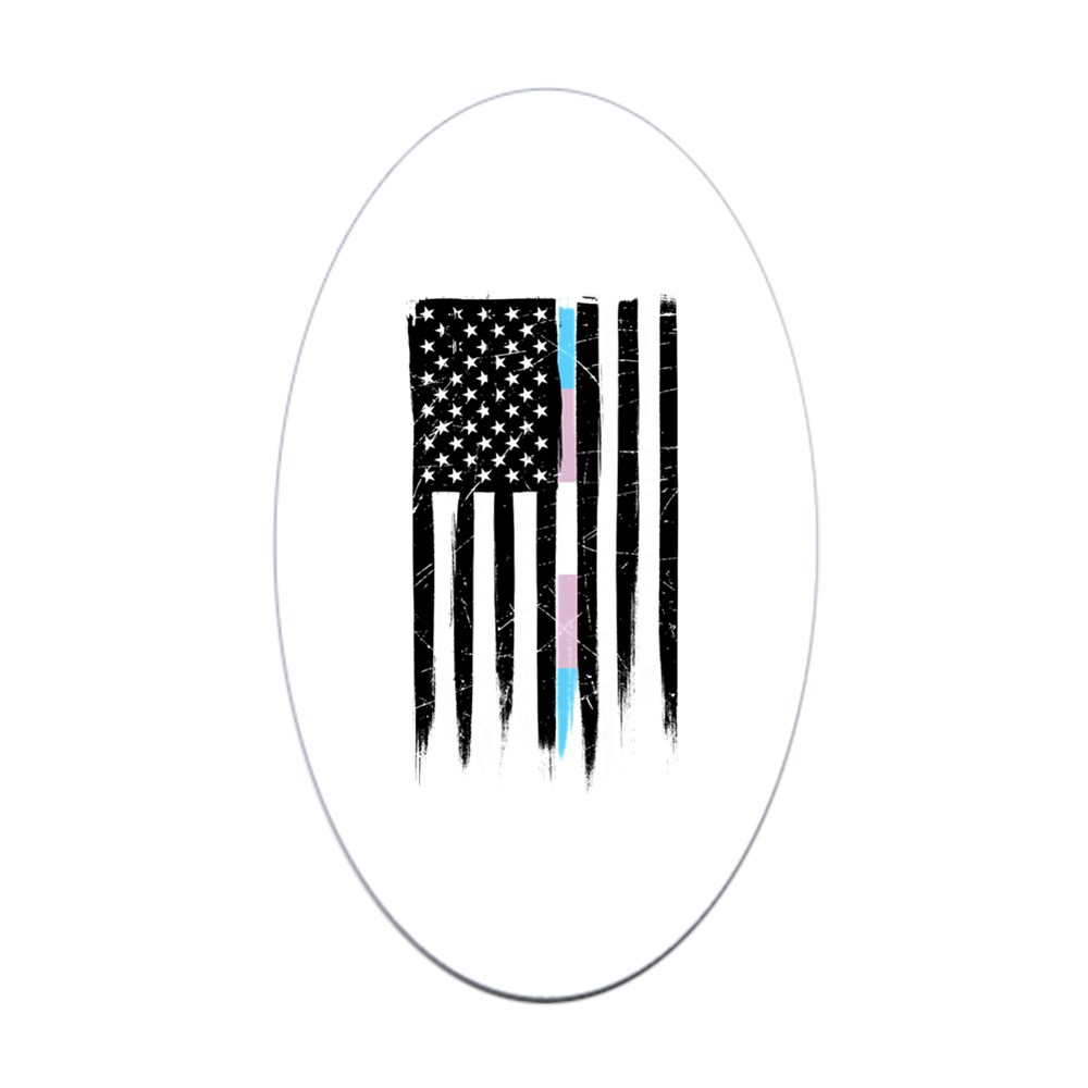LGBT Transgender Pride Thin Line American Flag Oval Sticker