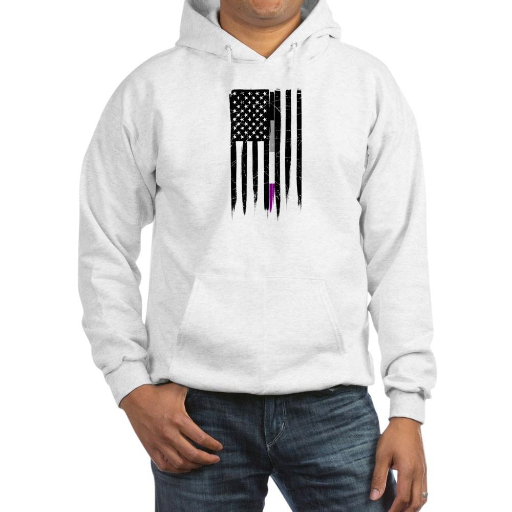 Asexual Pride Thin Line American Flag Hooded Sweatshirt