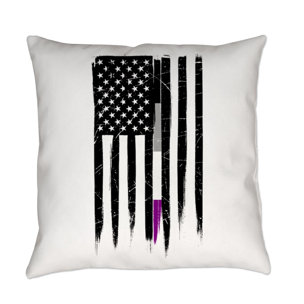 Asexual Pride Thin Line American Flag Everyday Pillow