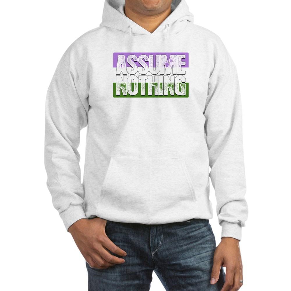 Assume Nothing Genderqueer Pride Flag Hooded Sweatshirt
