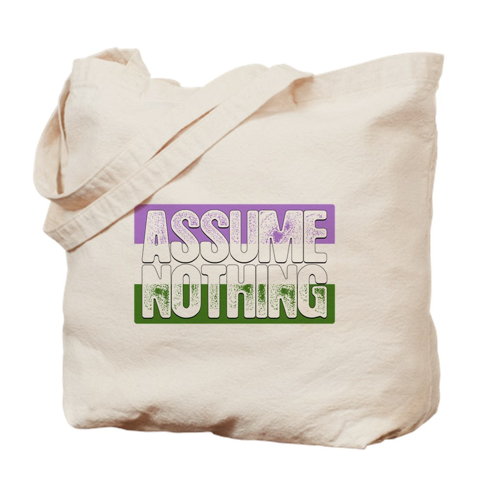 Assume Nothing Genderqueer Pride Flag Tote Bag
