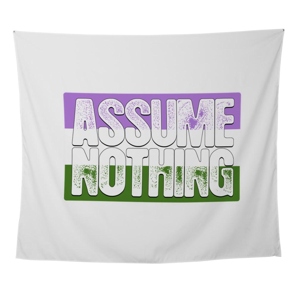 Assume Nothing Genderqueer Pride Flag Wall Tapestry