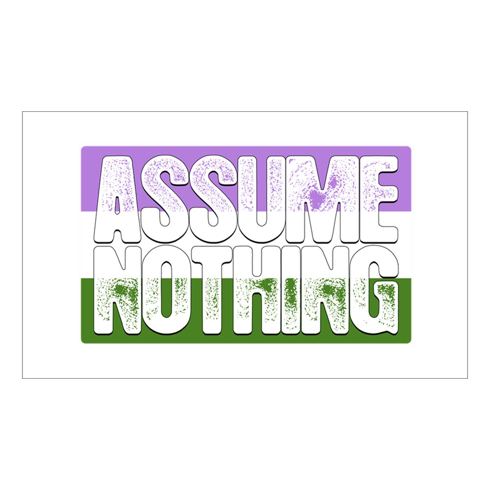 Assume Nothing Genderqueer Pride Flag Rectangle Sticker