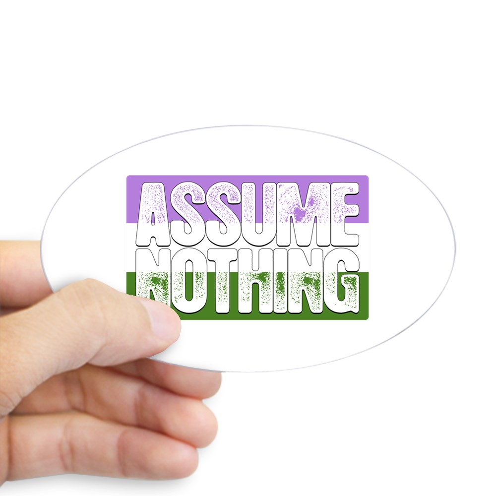 Assume Nothing Genderqueer Pride Flag Oval Sticker