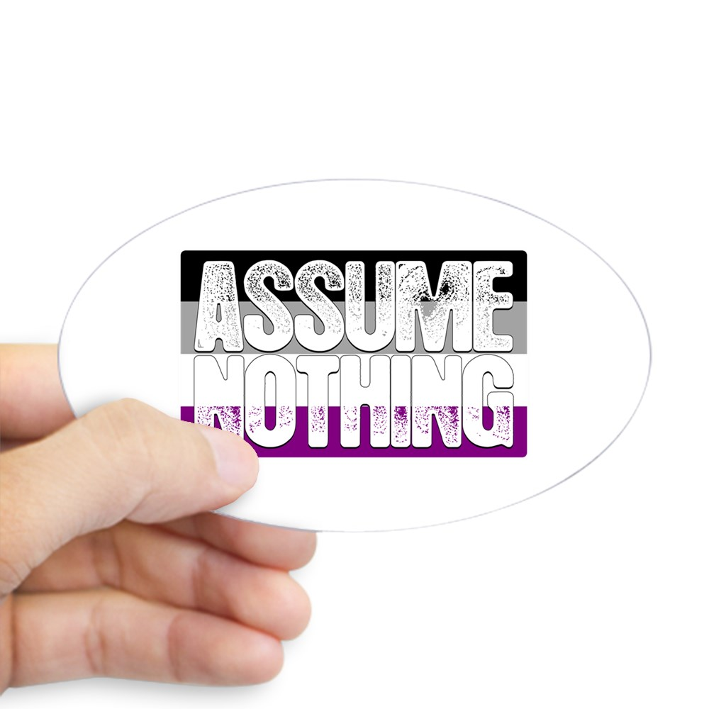Assume Nothing Asexual Pride Flag Oval Sticker