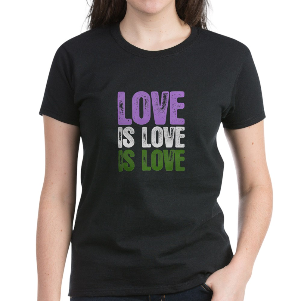 Love is Love is Love Genderqueer Pride Women's Dark T-Shirt