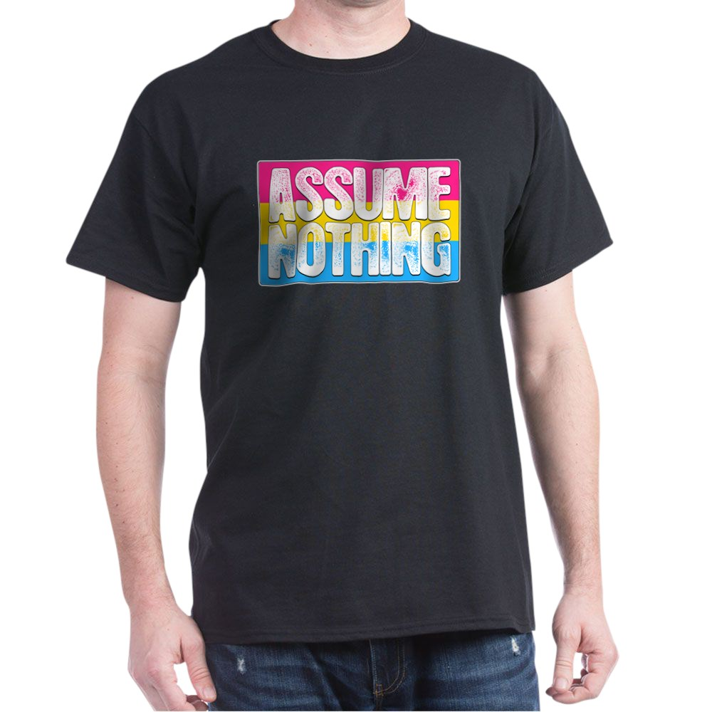 Assume Nothing Pansexual Pride Flag Dark T-Shirt