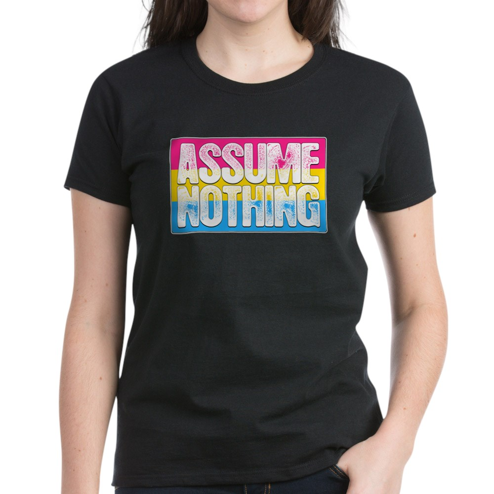 Assume Nothing Pansexual Pride Flag Women's Dark T-Shirt