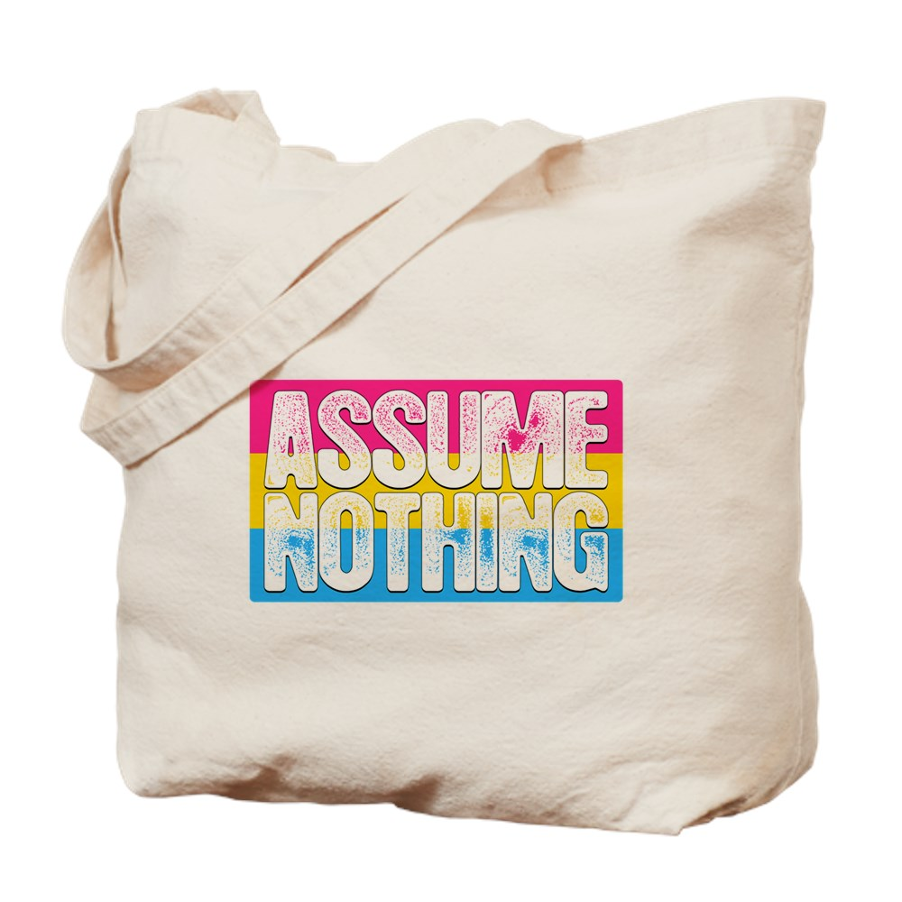 Assume Nothing Pansexual Pride Flag Tote Bag