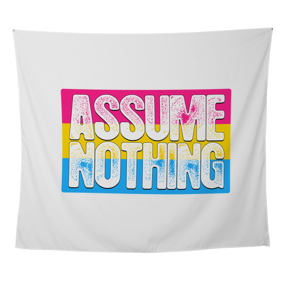 Assume Nothing Pansexual Pride Flag Wall Tapestry