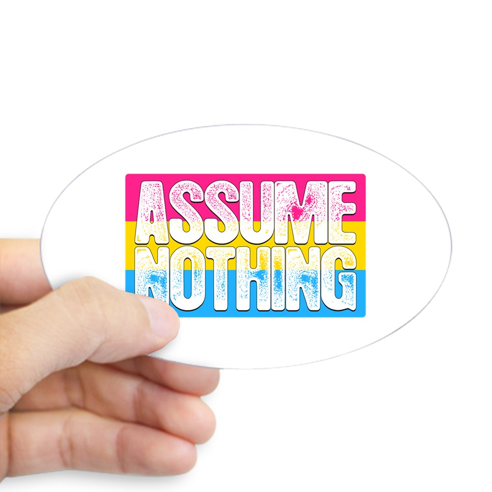 Assume Nothing Pansexual Pride Flag Oval Sticker