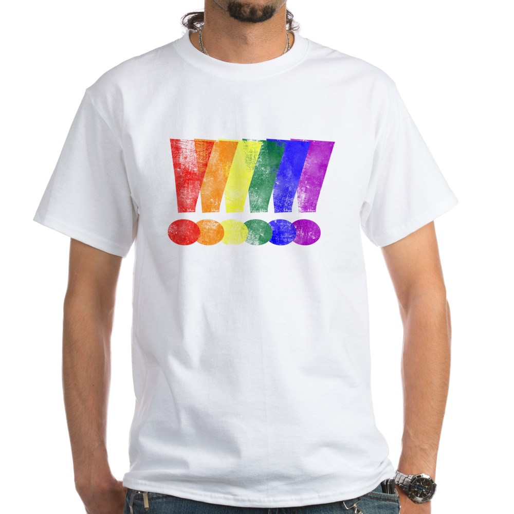 Distressed LGBT Pride Whee! Exclamation Points White T-Shirt