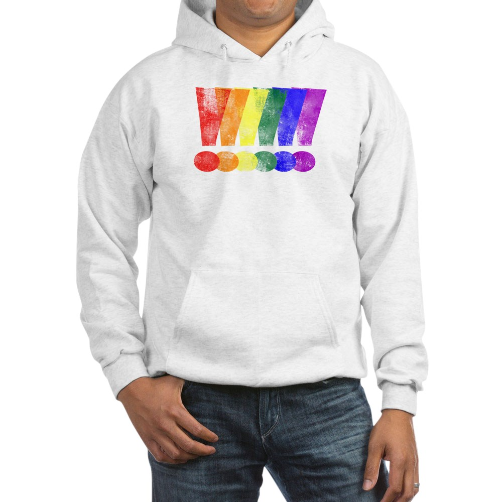 Distressed LGBT Pride Whee! Exclamation Points Hooded Sweatshirt