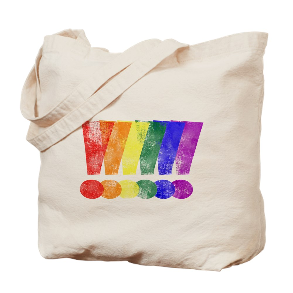 Distressed LGBT Pride Whee! Exclamation Points Tote Bag