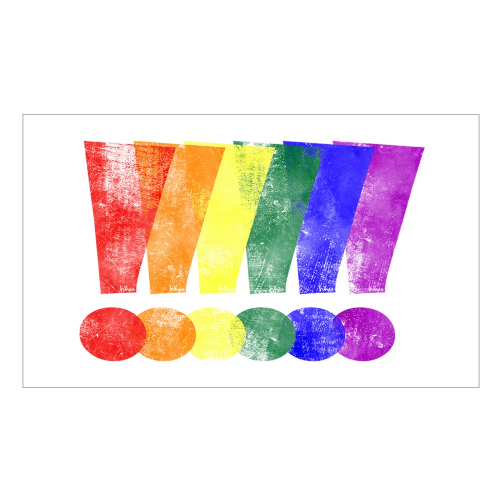 Distressed LGBT Pride Whee! Exclamation Points Rectangle Sticker