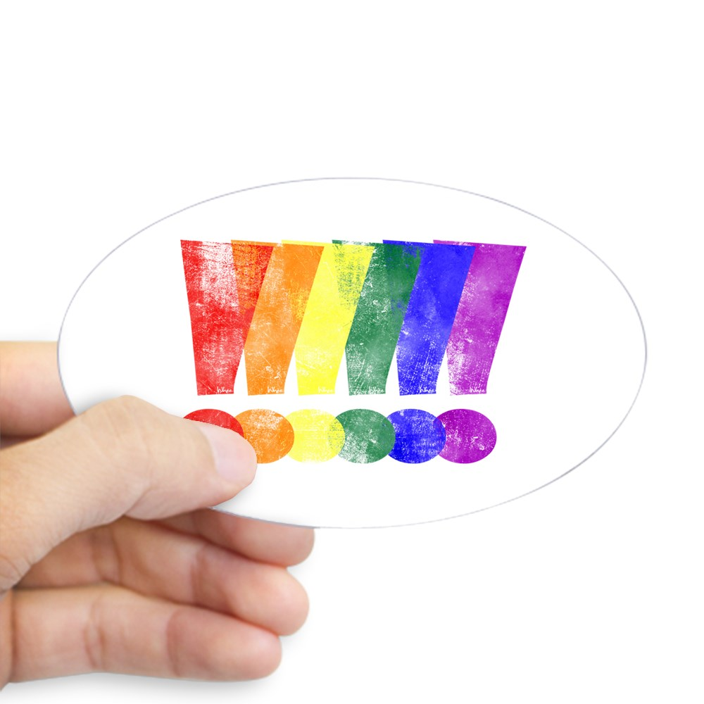 Distressed LGBT Pride Whee! Exclamation Points Oval Sticker