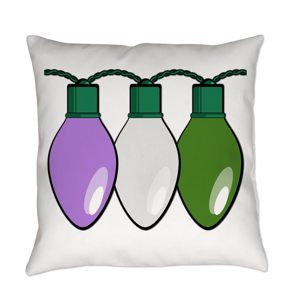 Genderqueer Pride Flag Christmas Lights Everyday Pillow