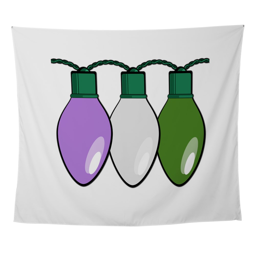 Genderqueer Pride Flag Christmas Lights Wall Tapestry