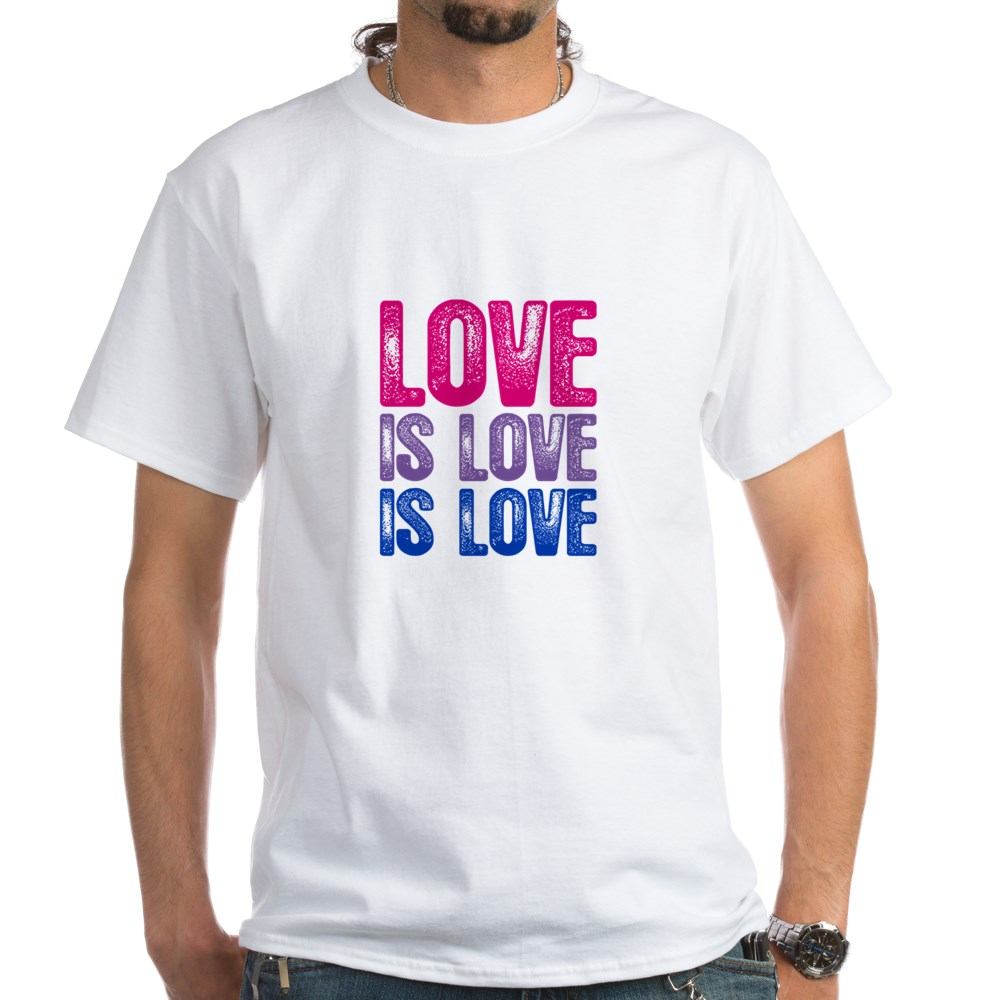 Love is Love is Love Bisexual Pride White T-Shirt