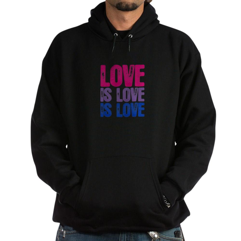 Love is Love is Love Bisexual Pride Dark Hoodie