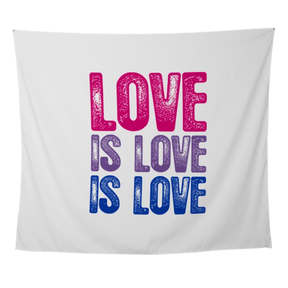 Love is Love is Love Bisexual Pride Wall Tapestry