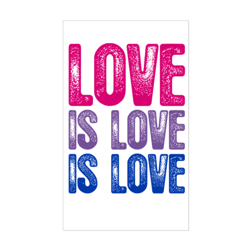 Love is Love is Love Bisexual Pride Rectangle Sticker