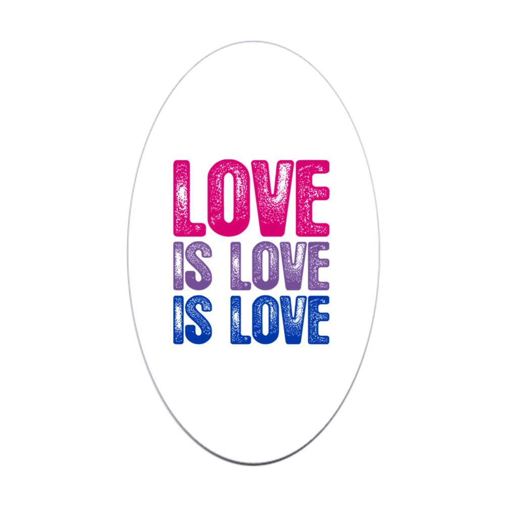Love is Love is Love Bisexual Pride Oval Sticker