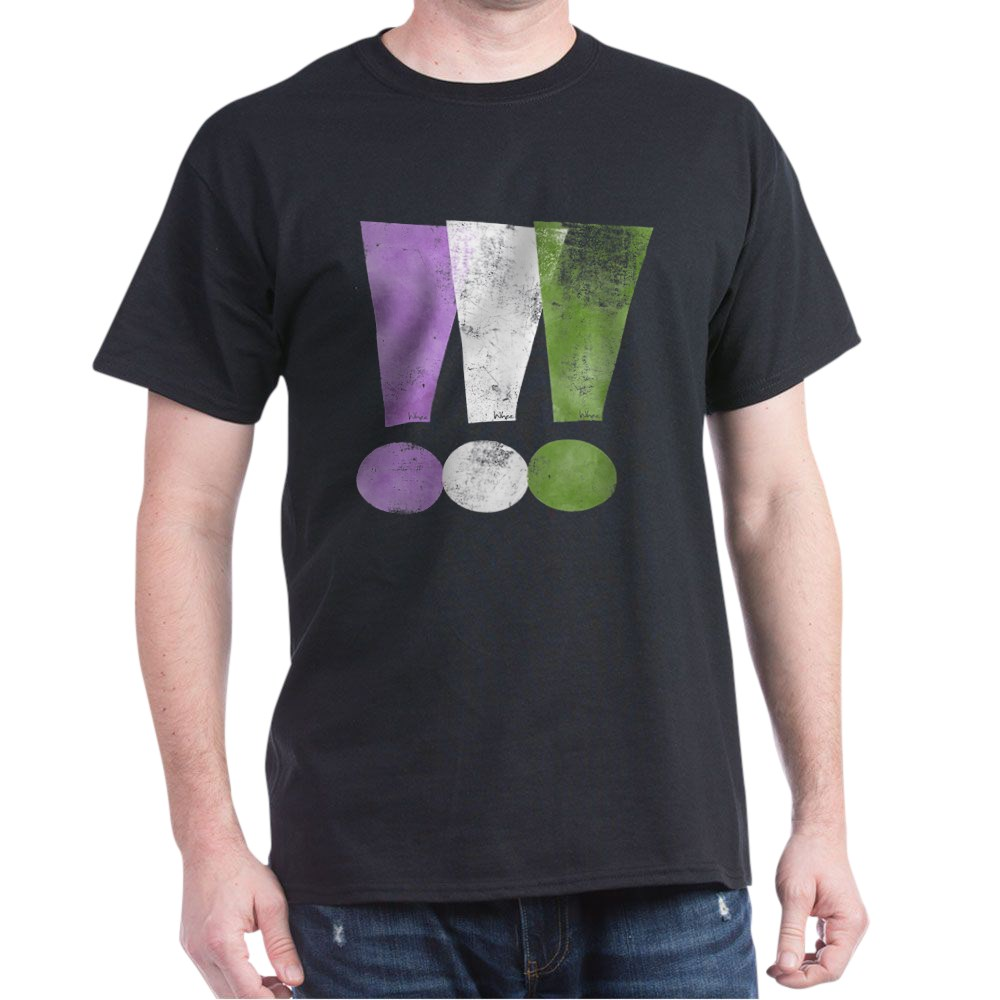 Distressed Genderqueer Pride Exclamation Points Dark T-Shirt