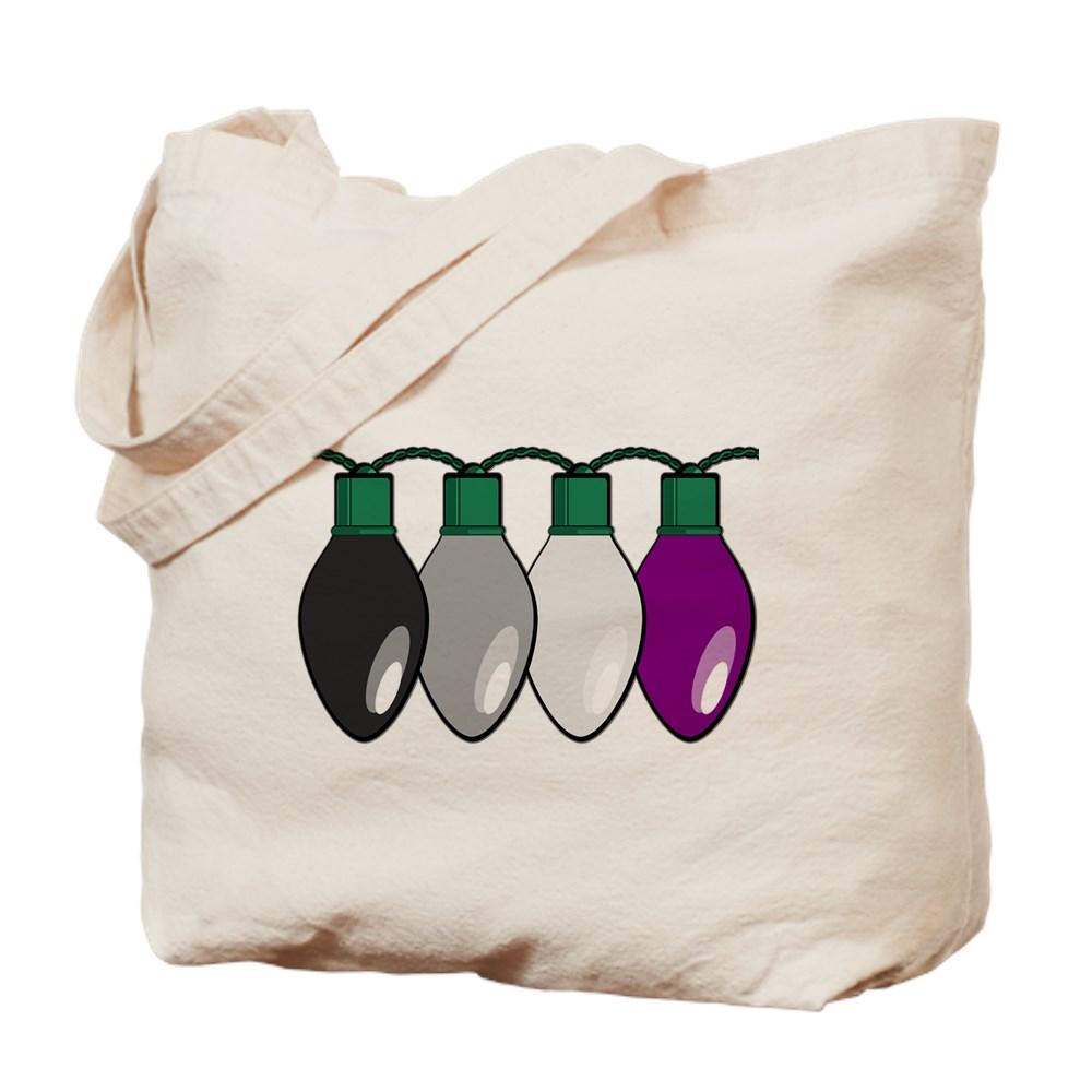 Asexual Pride Flag Christmas Lights Tote Bag
