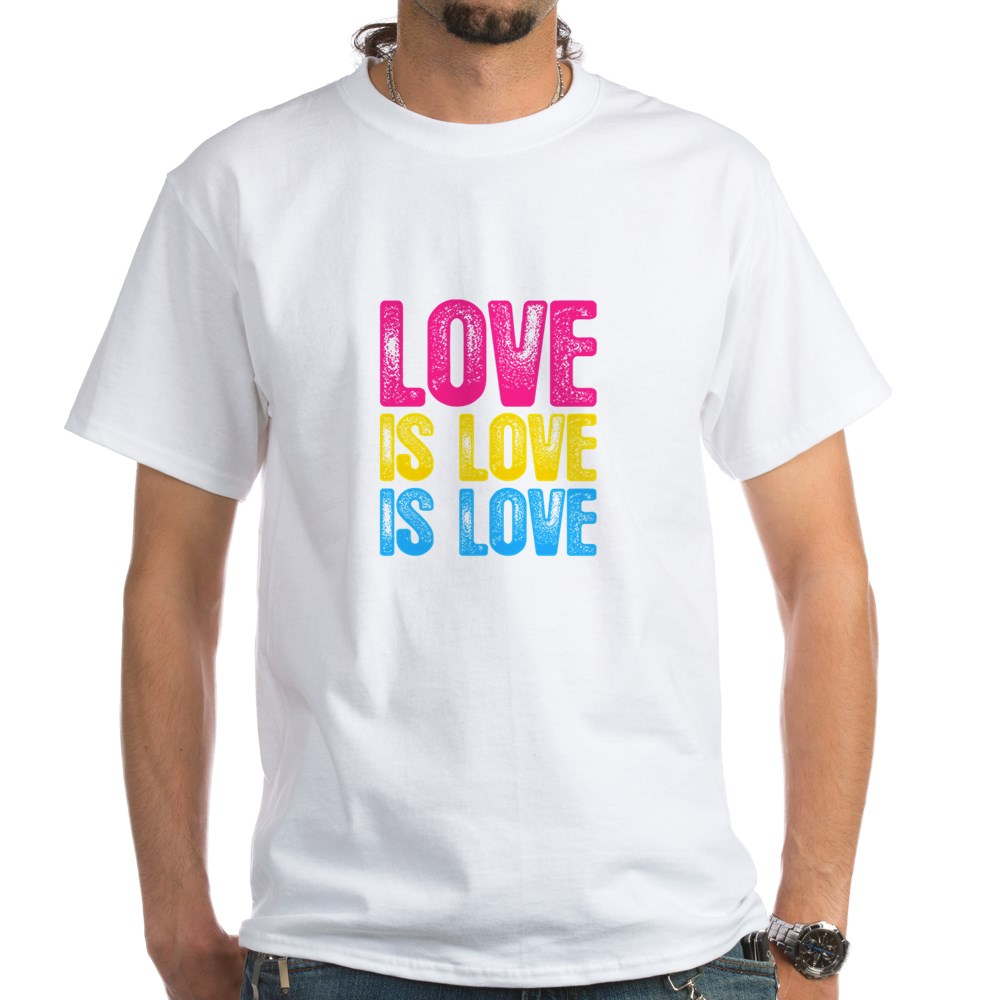 Love is Love is Love Pansexual Pride White T-Shirt