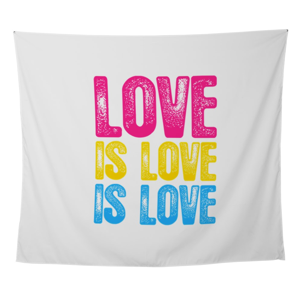 Love is Love is Love Pansexual Pride Wall Tapestry
