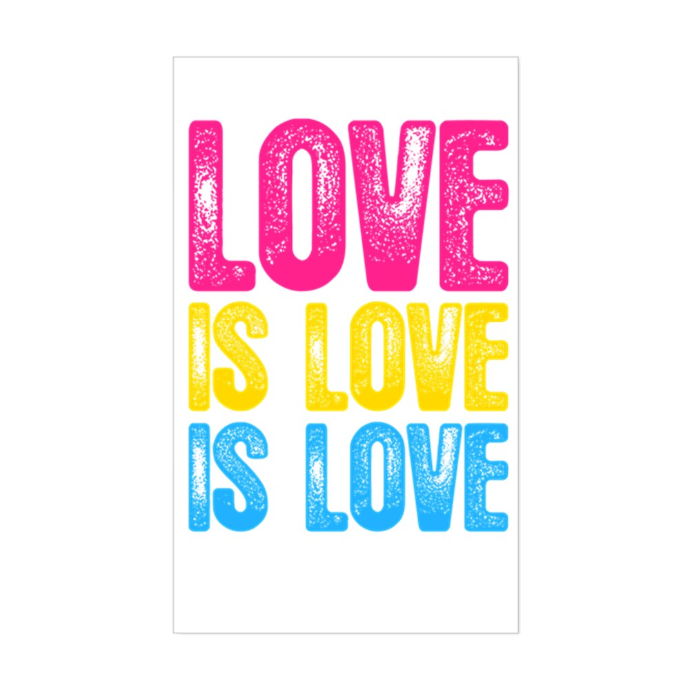 Love is Love is Love Pansexual Pride Rectangle Sticker