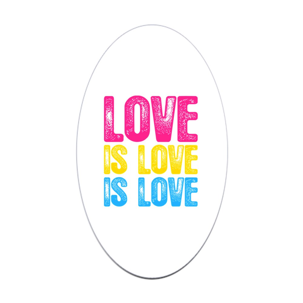 Love is Love is Love Pansexual Pride Oval Sticker
