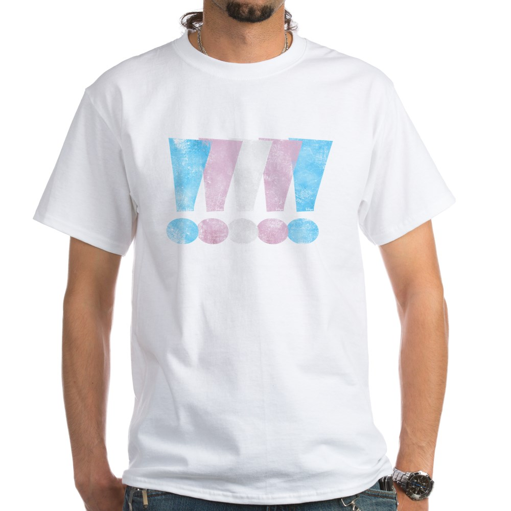 Distressed Transgender Pride Graphic Exclamation Points White T-Shirt