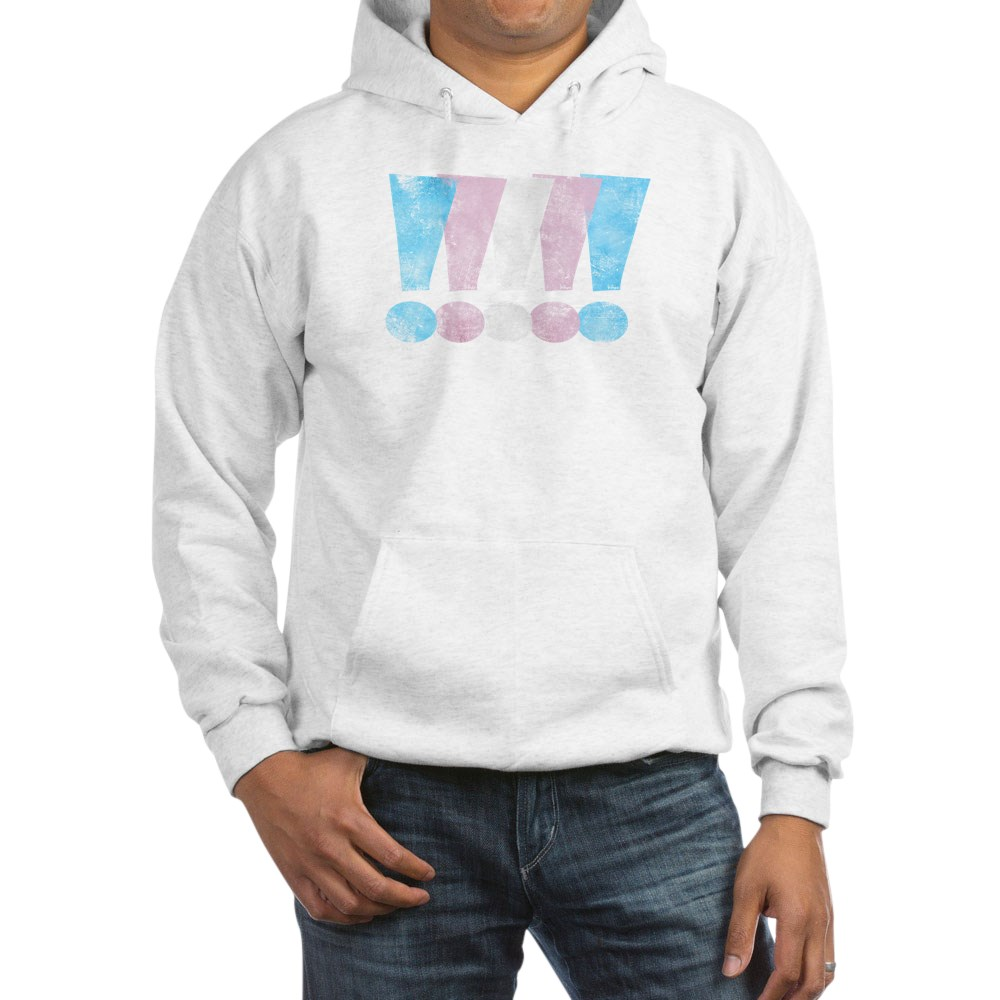 Distressed Transgender Pride Graphic Exclamation Points Hooded Sweatshirt