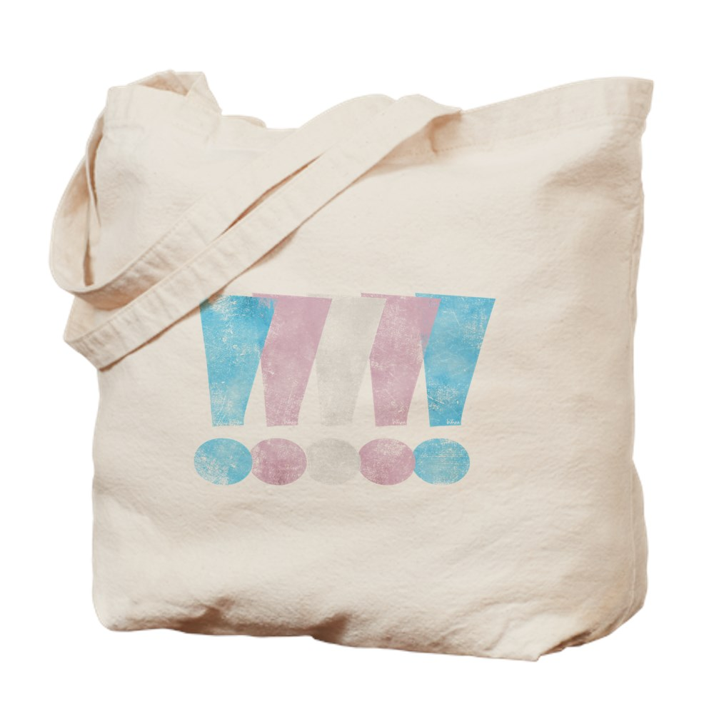 Distressed Transgender Pride Graphic Exclamation Points Tote Bag