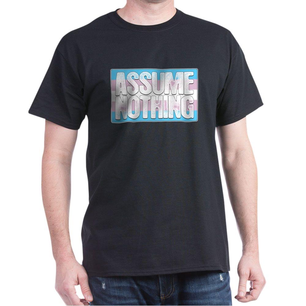 Assume Nothing Transgender Pride Flag Dark T-Shirt