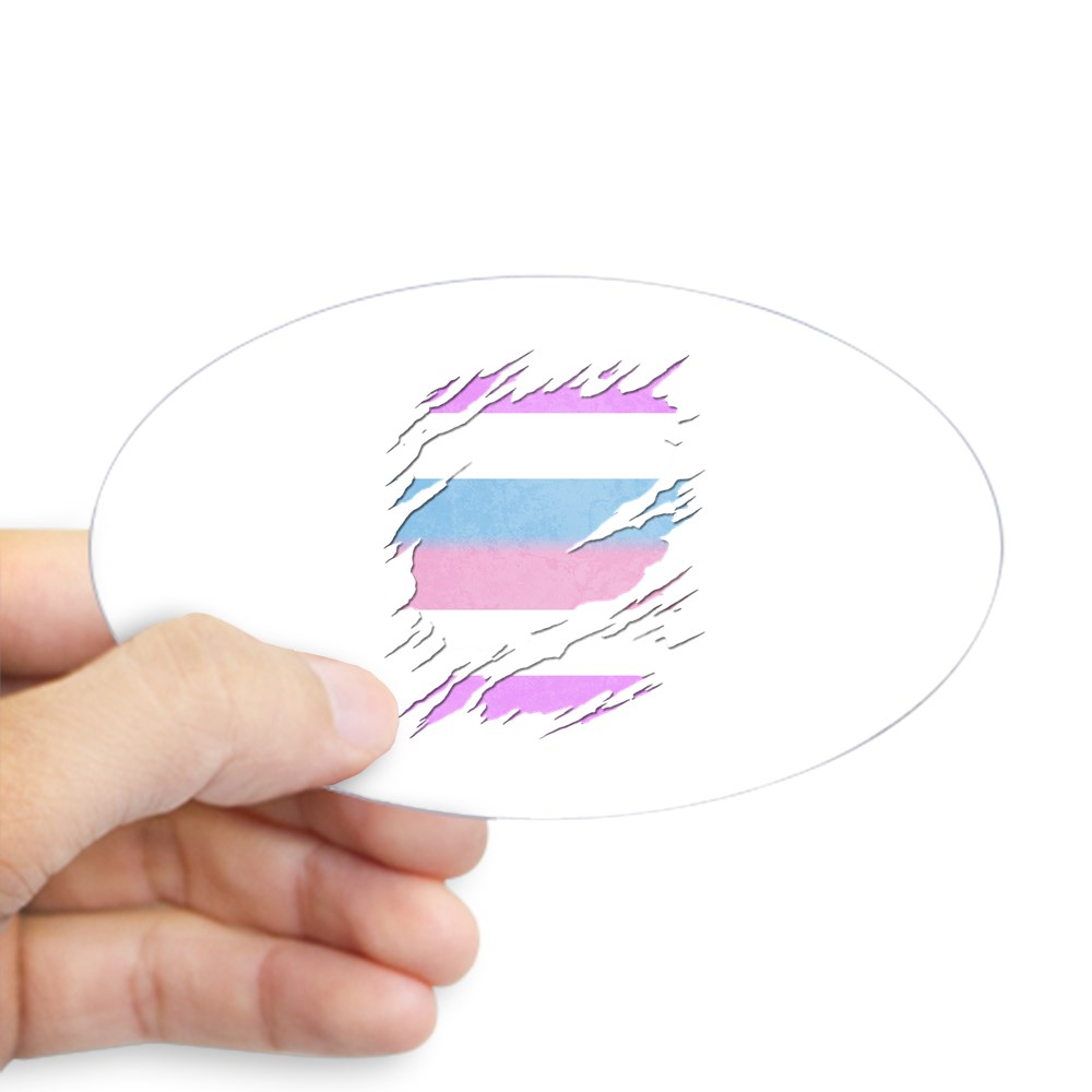 Bigender Pride Ripped Reveal Oval Sticker