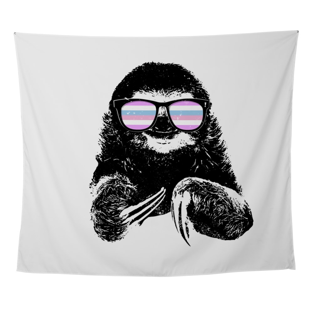 Pride Sloth Bigender Flag Sunglasses Wall Tapestry