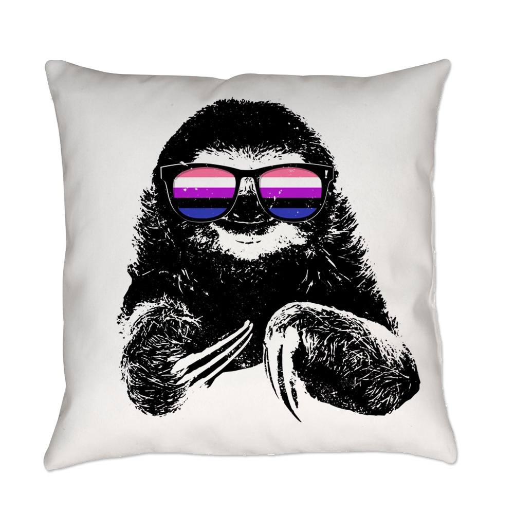 Pride Sloth Genderfluid Flag Sunglasses Everyday Pillow