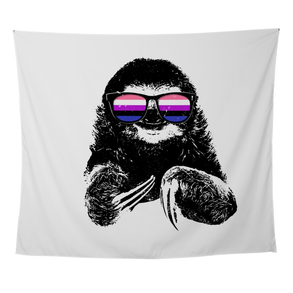 Pride Sloth Genderfluid Flag Sunglasses Wall Tapestry
