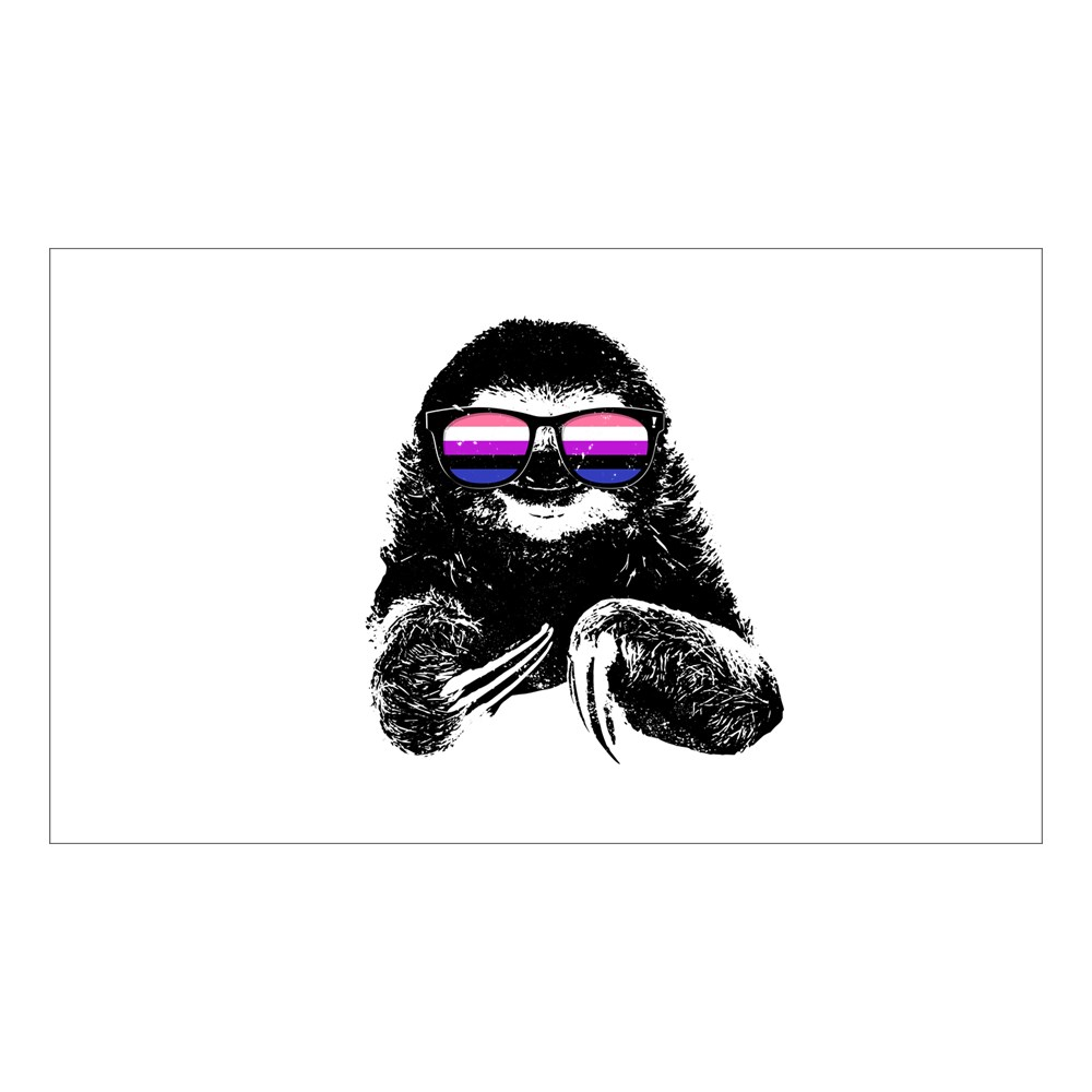 Pride Sloth Genderfluid Flag Sunglasses Rectangle Sticker