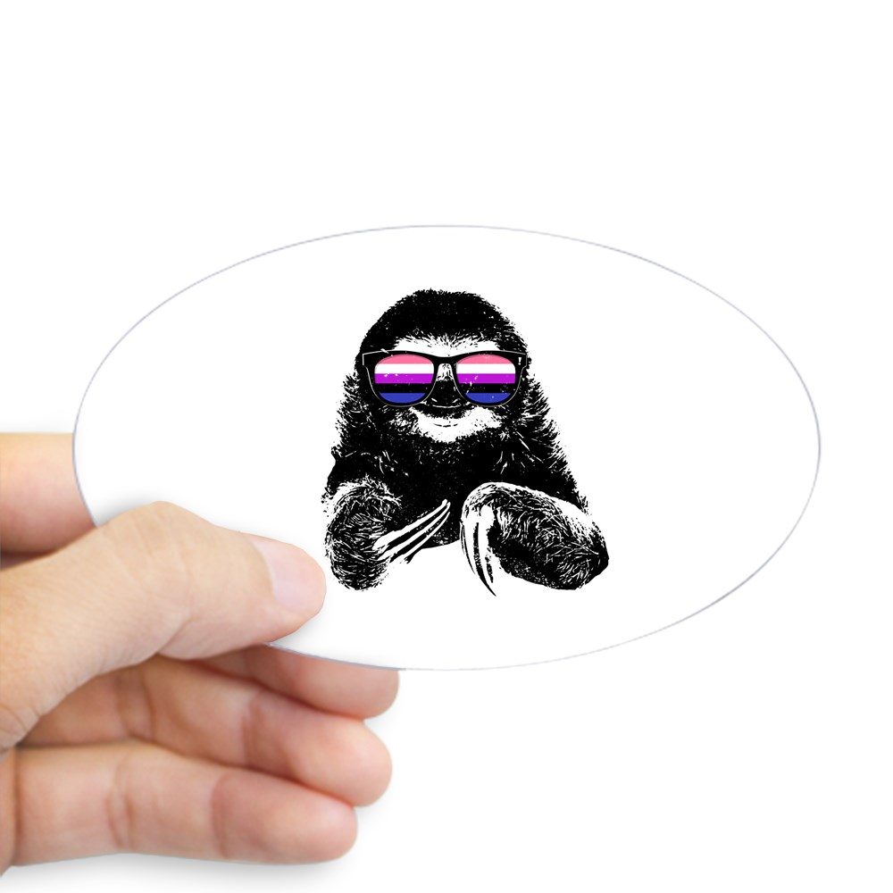 Pride Sloth Genderfluid Flag Sunglasses Oval Sticker