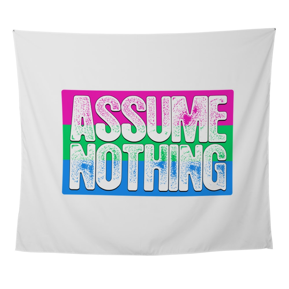 Assume Nothing Polysexual Pride Flag Wall Tapestry