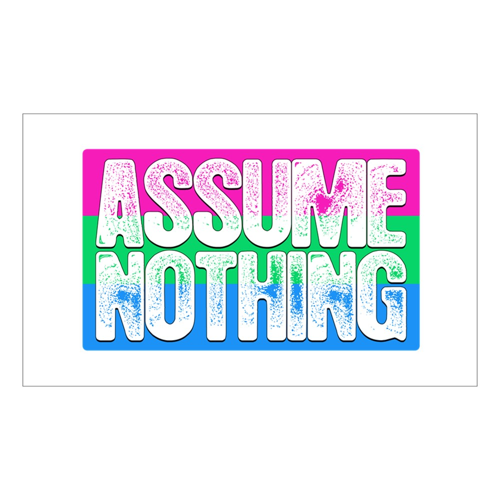 Assume Nothing Polysexual Pride Flag Rectangle Sticker